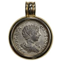 ROMAN EMPIRE: Geta, 209-212 AD, AR denarius. VF