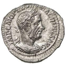 ROMAN EMPIRE: Macrinus, 217-218 AD, AR denarius (2.66g), Rome (217-218). EF