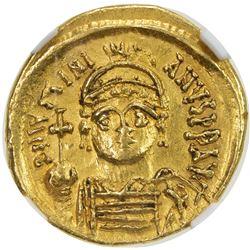 BYZANTINE EMPIRE: Justinian I, 527-565, AV solidus (4.43g), Carthage. NGC AU