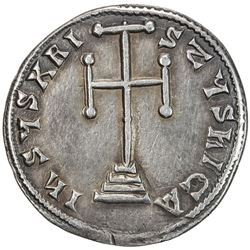 BYZANTINE EMPIRE: Basil I, the Macedonian, 867-886, AR millaresion (2.73g), Constantinople. VF-EF