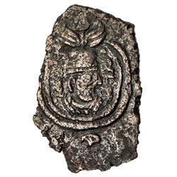 SASANIAN KINGDOM: Yazdigerd III, 631-651, AE rectangular pashiz (2.31g), ST (Istakhr), blundered dat