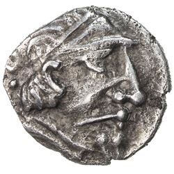 """BUKHARA: """"Hyrkod"""", 1st-2nd century AD, AR hemidrachm (1.44g). VF-EF"""