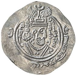 ARAB-SASANIAN: 'Atiya b. al-Aswad, fl. 689-696, AR drachm (4.11g), KLMAN-NAL (Narmashir), AH71. EF