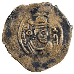 ARAB-SASANIAN: Khusraw type, ca. 680-700, AE pashiz (0.88g), NM, ND. VF