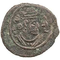ARAB-SASANIAN: Anonymous, ca. 680s-690s, AE pashiz (0.93g), NM, ND. F-VF