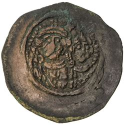 ARAB-SASANIAN: Anonymous, ca. 690-715, AE pashiz (0.72g), NM, ND. VF