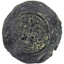 ARAB-SASANIAN: Anonymous, ca. 690-715, AE pashiz (1.15g), NM, ND. VF