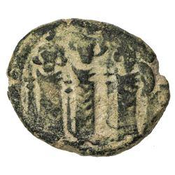 ARAB-BYZANTINE: Three Standing Figures, ca. 680s, AE fals (4.17g), [Tabariya], ND. VF