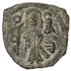 ARAB-BYZANTINE: Standing Caliph, ca. 692-697, AE fals (3.43g), al-Ruha, ND. F-VF