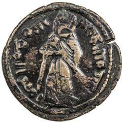 ARAB-BYZANTINE: Standing Caliph, ca. 693-697, AE fals (4.62g), Hims, ND. VF