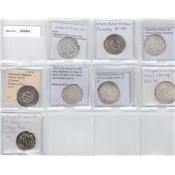 UMAYYAD: LOT of 7 silver dirhams & 1 copper fals, all in nicer grades