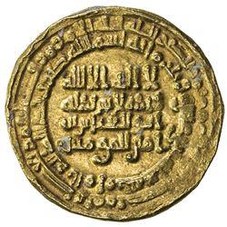 ABBASID: al-Muqtadir, 908-932, AV dinar (4.05g), al-Muhammadiya, AH312. EF