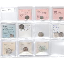 FATIMID: LOT of 9 silver coins, plus illegible 2 glass jetons