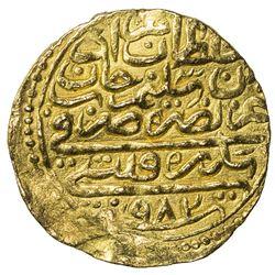 OTTOMAN EMPIRE: Murad III, 1574-1595, AV sultani (3.53g), Sidrekapsi, AH982. VF-EF