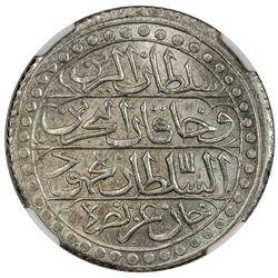ALGIERS: Mahmud II, 1809-1830, AR budju, Jaza'ir, AH1239. NGC MS64