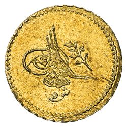 EGYPT: Abdul Mejid, 1839-1861, AV 5 qirsh (0.42g), Misr, AH1255 year 13. UNC