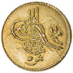 EGYPT: Abdul Aziz, 1861-1876, AV 5 qirsh (0.43g), Misr, AH1277 year 12. UNC