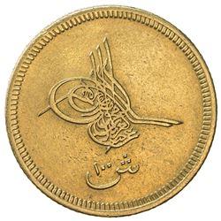 EGYPT: Abdul Aziz, 1861-1876, AV 100 qirsh, Misr, AH1277 year 4. EF-AU