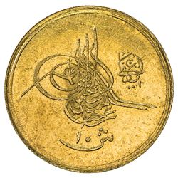 EGYPT: Abdul Hamid II, 1876-1909, AV 10 qirsh (0.84g), Misr, AH1293 year 17. UNC