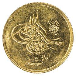 EGYPT: Abdul Hamid II, 1876-1909, AV 5 qirsh (0.43g), Misr, AH1293 year 18. BU