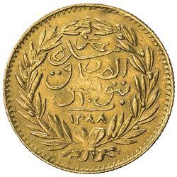 TUNIS: Muhammad al-Sadiq Bey, 1859-1882, AV 10 piastres (1.87g), Tunis, AH1288. F-VF