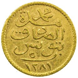 TUNIS: Muhammad al-Sadiq Bey, 1859-1882, AV 5 piastres (0.92g), Tunis, AH1281. EF-AU