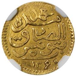 TUNIS: Muhammad al-Sadiq Bey, 1859-1882, AV 5 piastres, Tunis, AH1290. NGC AU
