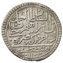 TURKEY: Ahmad II, 1691-1695, AR 1/2 kurush (20 para) (9.45g), Kostantiniye, AH1102. VF-EF