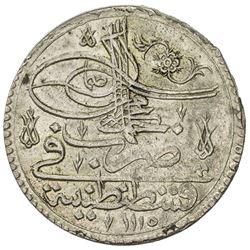 TURKEY: Ahmad III, 1703-1730, AR kurush (40 para) (26.70g), Kostantiniye, AH1115. EF-AU