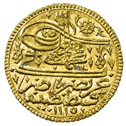 TURKEY: Ahmad III, 1703-1730, AV ashrafi (esrefi) (3.47g), Kostantiniye, AH1115. AU