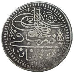 TURKEY: Mahmud I, 1730-1754, AR yirmilik (20 para) (13.92g), Gumushane, AH1143. VF