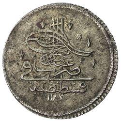 TURKEY: Abdul Hamid I, 1774-1789, AR piastre (19.80g), Kostantiniye, AH1187 year 1. EF-AU