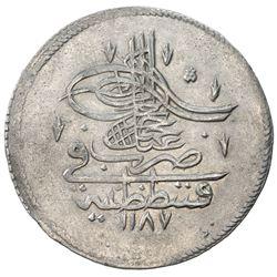 TURKEY: Abdul Hamid I, 1774-1789, AR piastre (18.58g), Kostantiniye, AH1187 year 1. EF-AU