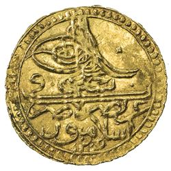 TURKEY: Selim III, 1789-1807, AV zeri mahbub (2.39g), Islambul, 1203 year 13. UNC