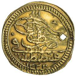 TURKEY: Mustafa IV, 1807-1808, AV zeri mahbub (2.36g), Kostantiniye, AH1222 year 1. VF-EF