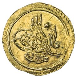 TURKEY: Mahmud II, 1808-1839, AV 1/4 zeri mahbub (rubiye) (0.79g), Kostantiniye, AH1223 year 3. UNC