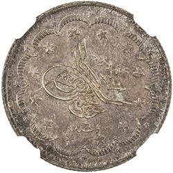 TURKEY: Abdul Mejid, 1839-1861, AR 5 kurush, Kostantiniye, AH1255 year 6. NGC MS64