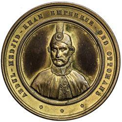 TURKEY: Abdul Mejid, 1839-1861, gilt AE medal (141.33g), 1853