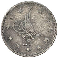 TURKEY: Abdul Aziz, 1861-1876, AR 2 kurush, Kostantiniye, AH1277 year 5. F-VF