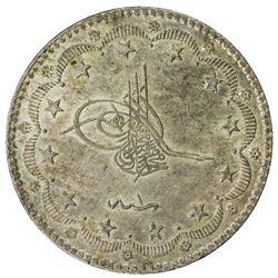 TURKEY: Murad V, 1876, AR 20 kurush, Kostantiniye, AH1293 year 1. AU