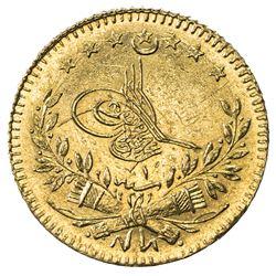 TURKEY: Murad V, 1876, AV 25 kurush, Kostantiniye, AH1293 year 1. BU
