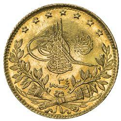 TURKEY: Abdul Hamid II, 1876-1909, AV 50 kurush, Kostantiniye, AH1293 year 34. BU