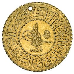TURKEY: Abdul Hamid II, 1876-1909, AV 25 kurush, Kostantiniye, AH1293 year 34. AU
