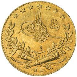 TURKEY: Mehmet V, 1909-1918, AV 25 kurush, Kostantiniye, AH1327 year 4. UNC