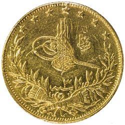 TURKEY: Mehmet V, 1909-1918, AV 100 kurush (7.13g), Kosovo, AH1327 year 3. VF