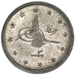 TURKEY: Mehmet V, 1909-1918, AR 2 kurush, Salanik, AH1327 year 3. BU