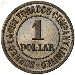 BRITISH NORTH BORNEO: AE 1 dollar token (8.27g), ND [ca. 1900s]. PF