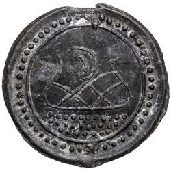 TENASSERIM-PEGU: Anonymous, 17th-18th century, cast large tin coin (37.51g). EF