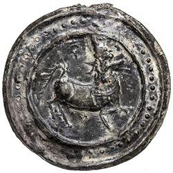 TENASSERIM-PEGU: Anonymous, 17th-18th century, cast large tin coin (42.64g). VF-EF