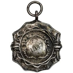 BURMA: silvered medal, 1947, MAYMYO FOOTBALL LEAGUE, EF